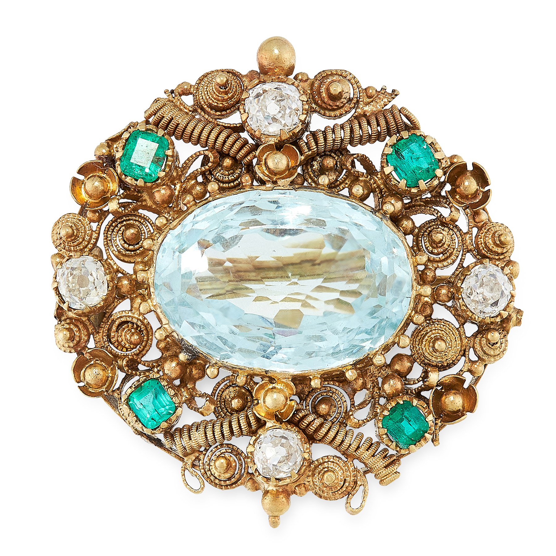 AN ANTIQUE AQUAMARINE, EMERALD AND DIAMOND BROOCH, 19TH CENTURY in yellow gold, set with an oval cut