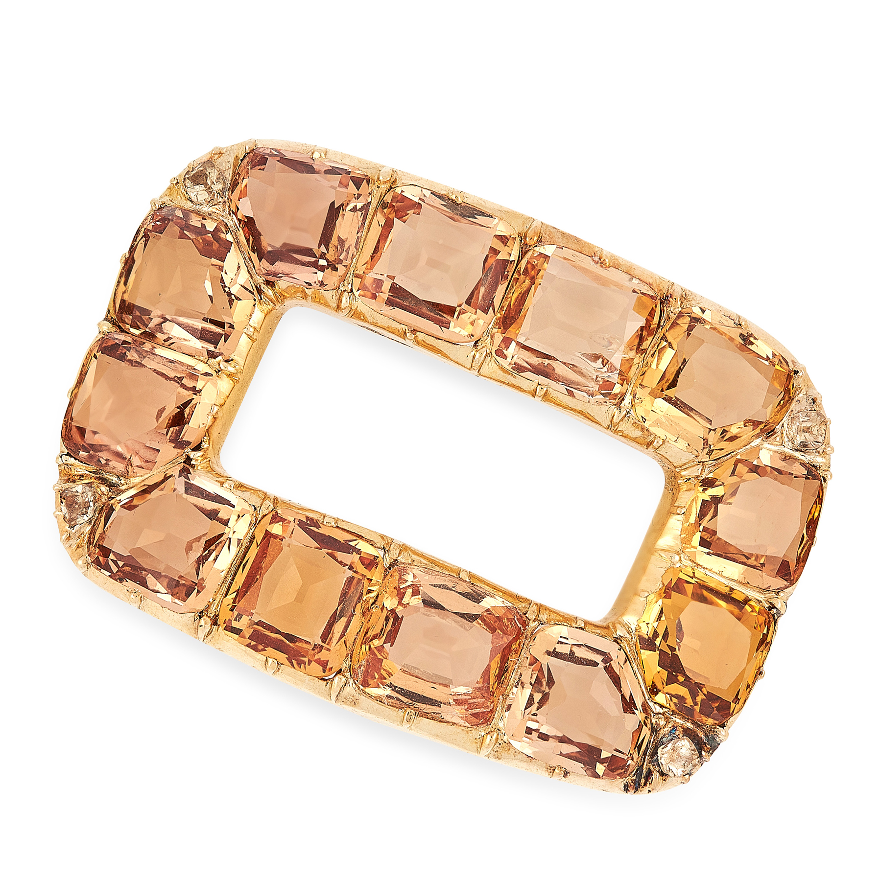 AN ANTIQUE IMPERIAL TOPAZ AND DIAMOND BUCKLE, 19TH CENTURY in yellow gold, of rounded rectangular