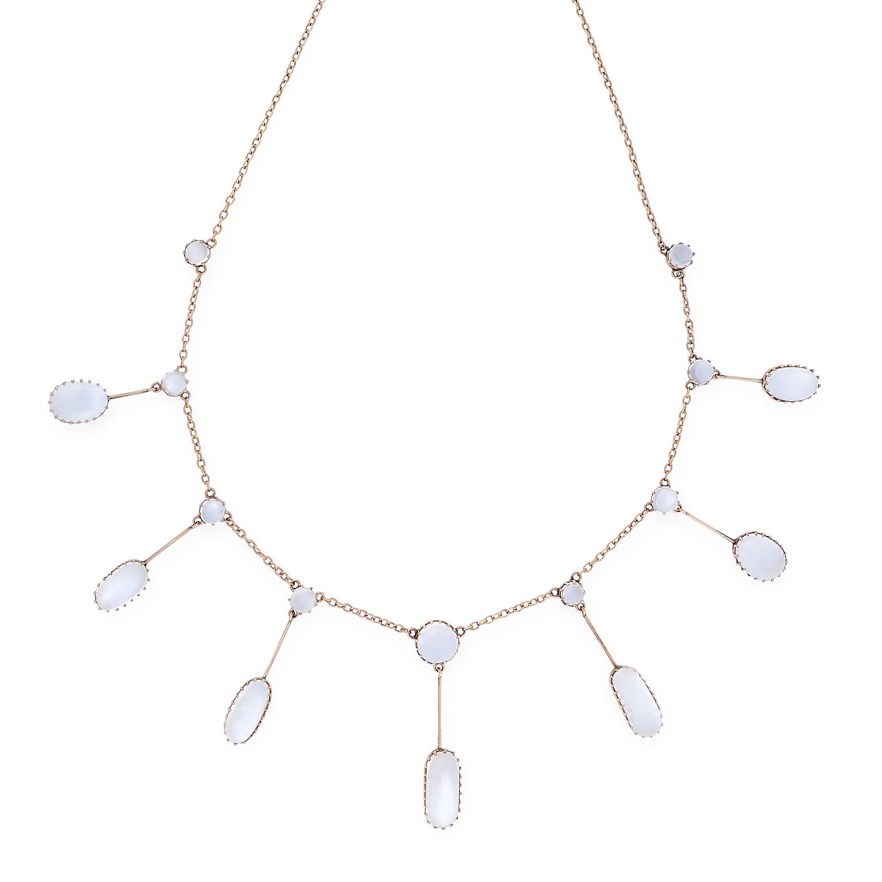 A MOONSTONE FRINGE NECKLACE, EARLY 20TH CENTURY in yellow world, the belcher link chain suspending a