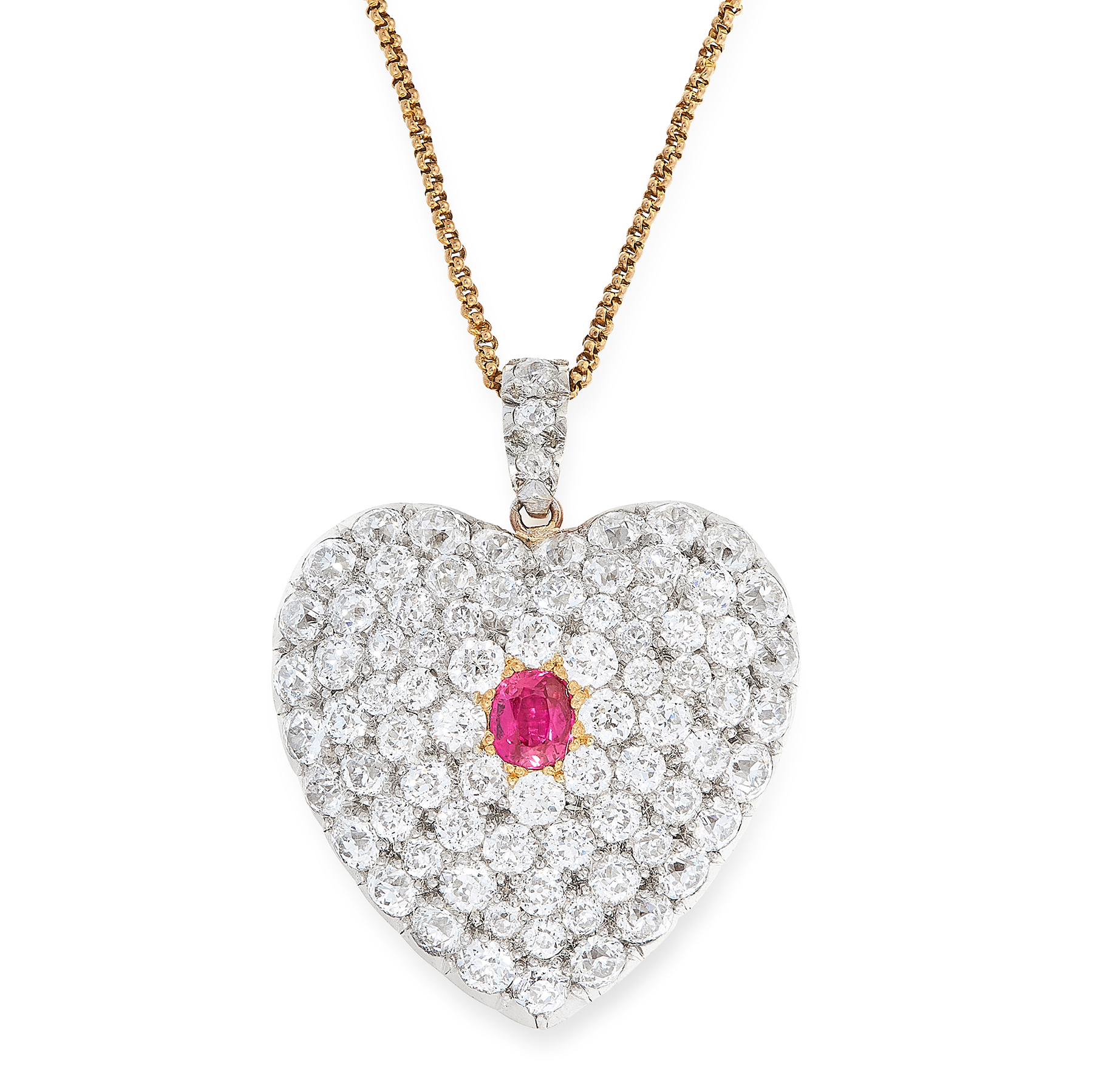 AN ANTIQUE RUBY AND DIAMOND MOURNING LOCKET PENDANT AND CHAIN in yellow gold and silver, designed as