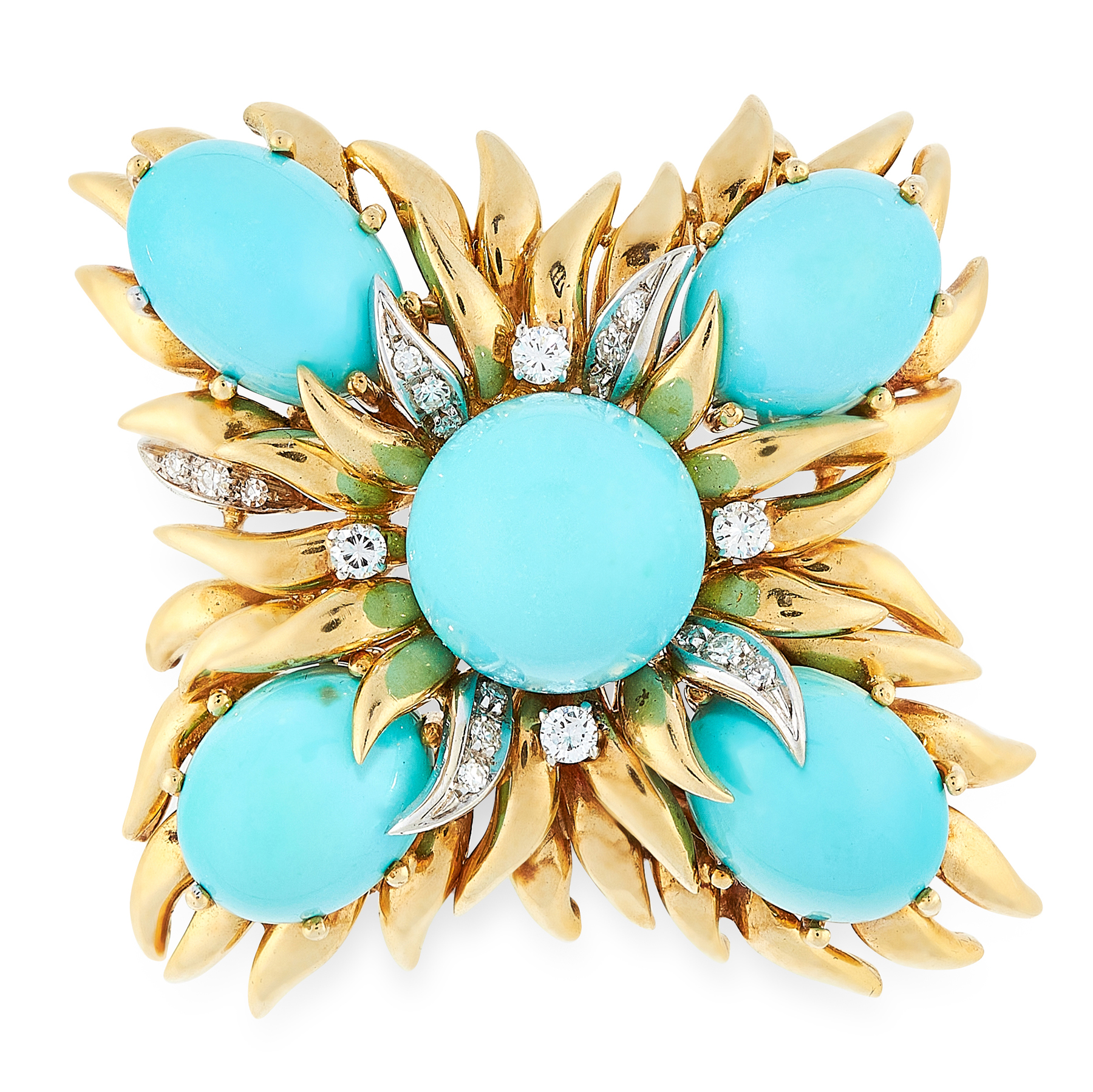 A VINTAGE TURQUOISE AND DIAMOND BROOCH / PENDANT in 18ct yellow gold, set with five circular and