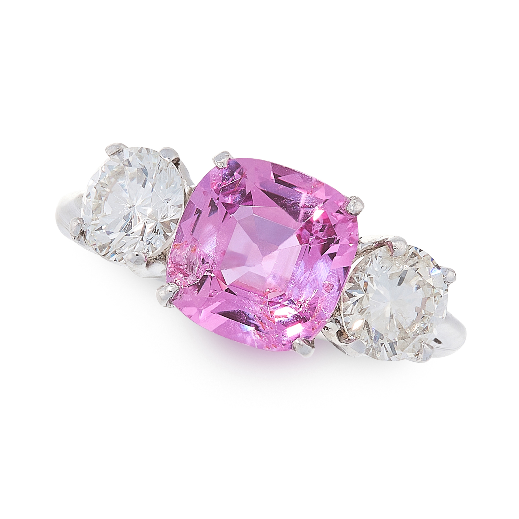 AN UNHEATED PINK SAPPHIRE AND DIAMOND RING in 18ct white gold, set with a cushion cut pink