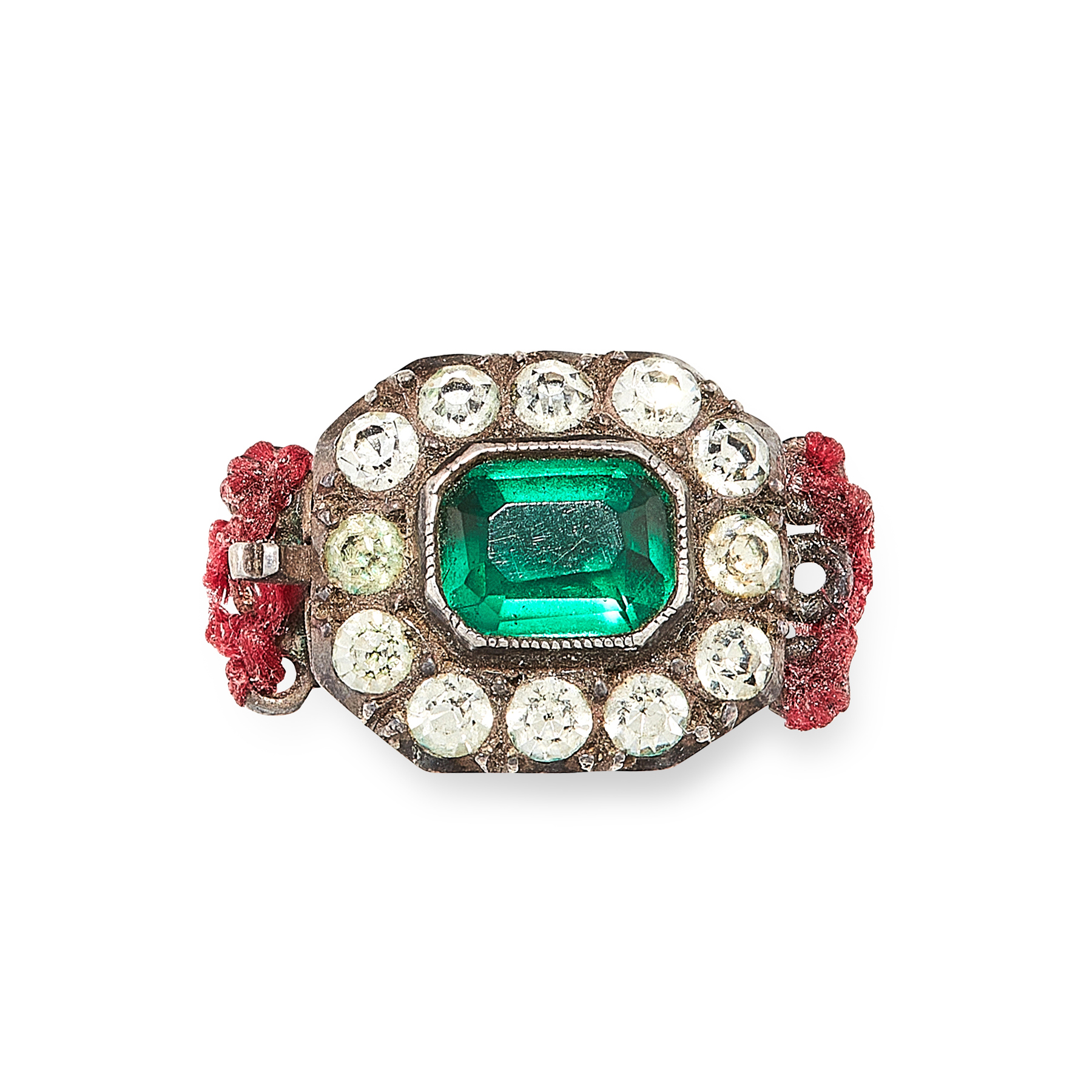 A JEWELLED PASTE CLASP in sterling silver, the octagonal body set with an emerald cut green paste