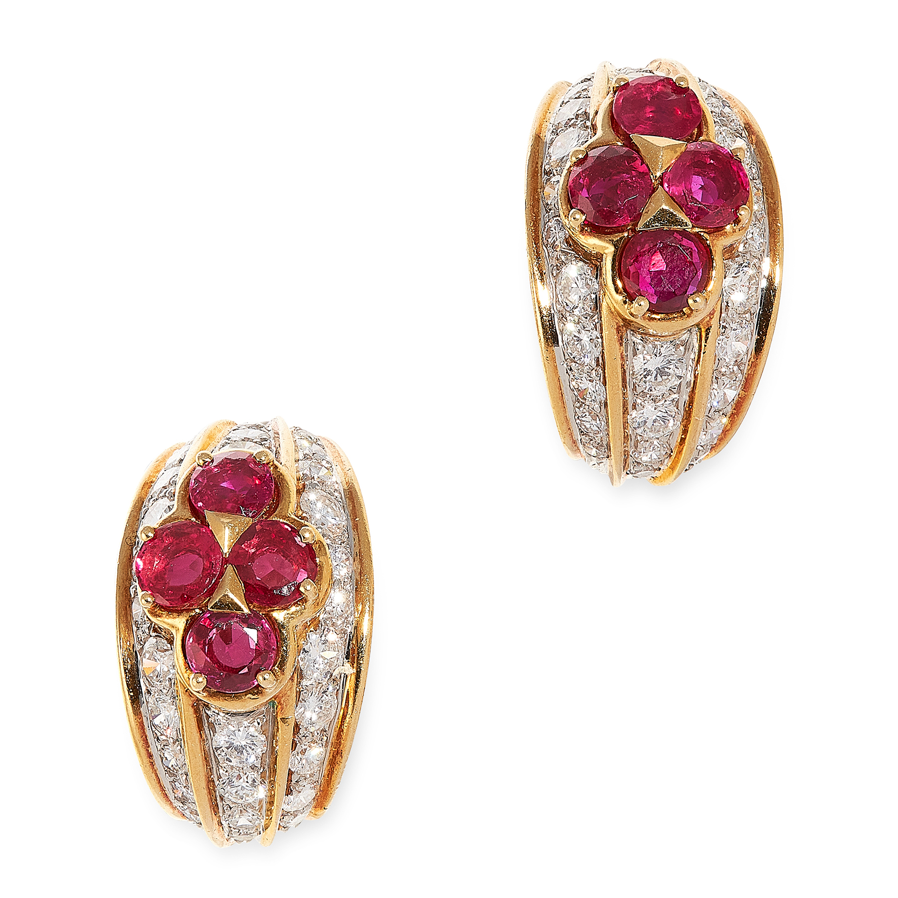A PAIR OF VINTAGE RUBY AND DIAMOND CLIP EARRINGS, VAN CLEEF & ARPELS in 18ct yellow gold, each of