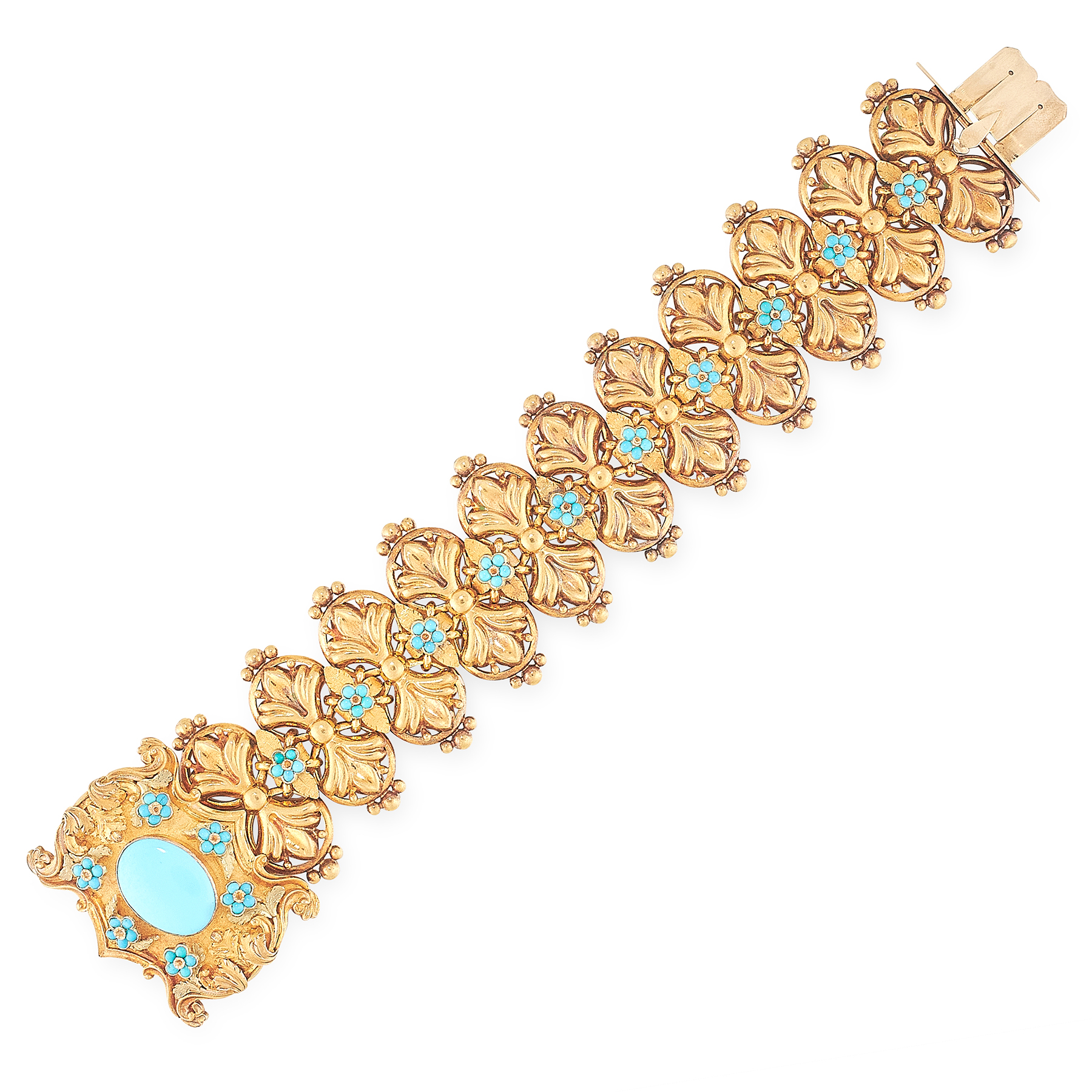 AN ANTIQUE TURQUOISE BRACELET, 19TH CENTURY comprising a row of foliate links, jewelled with