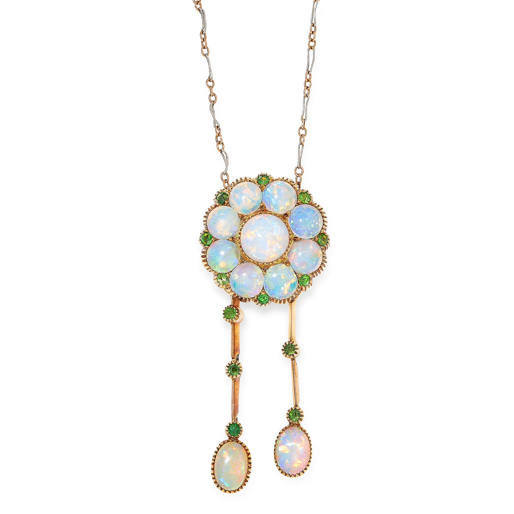 AN ANTIQUE OPAL AND DEMANTOID GARNET LAVALIER NECKLACE, EARLY 20TH CENTURY in 15ct yellow gold and