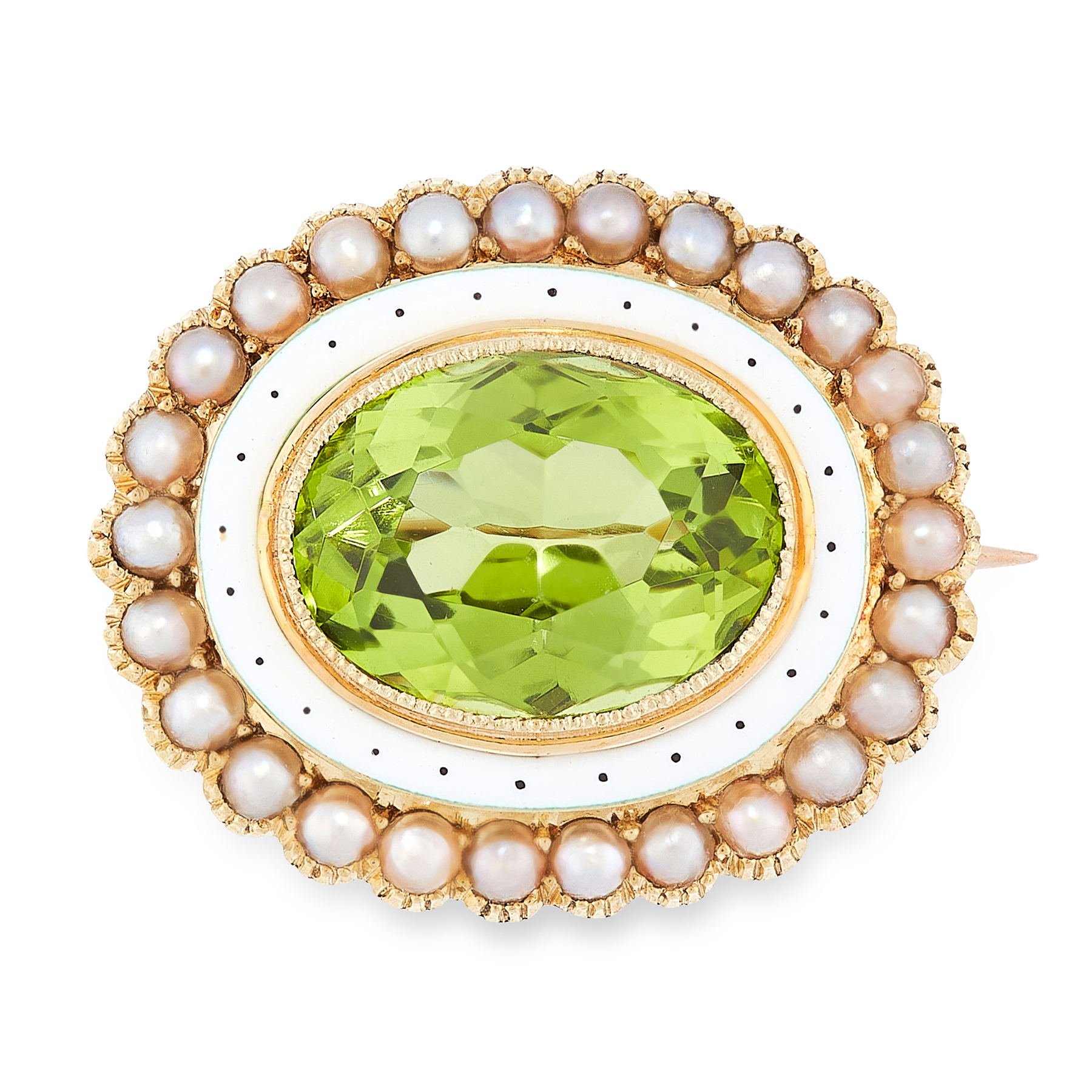 AN ANTIQUE PERIDOT, PEARL AND ENAMEL BROOCH in 15ct yellow gold, set with an oval cut peridot of 4.