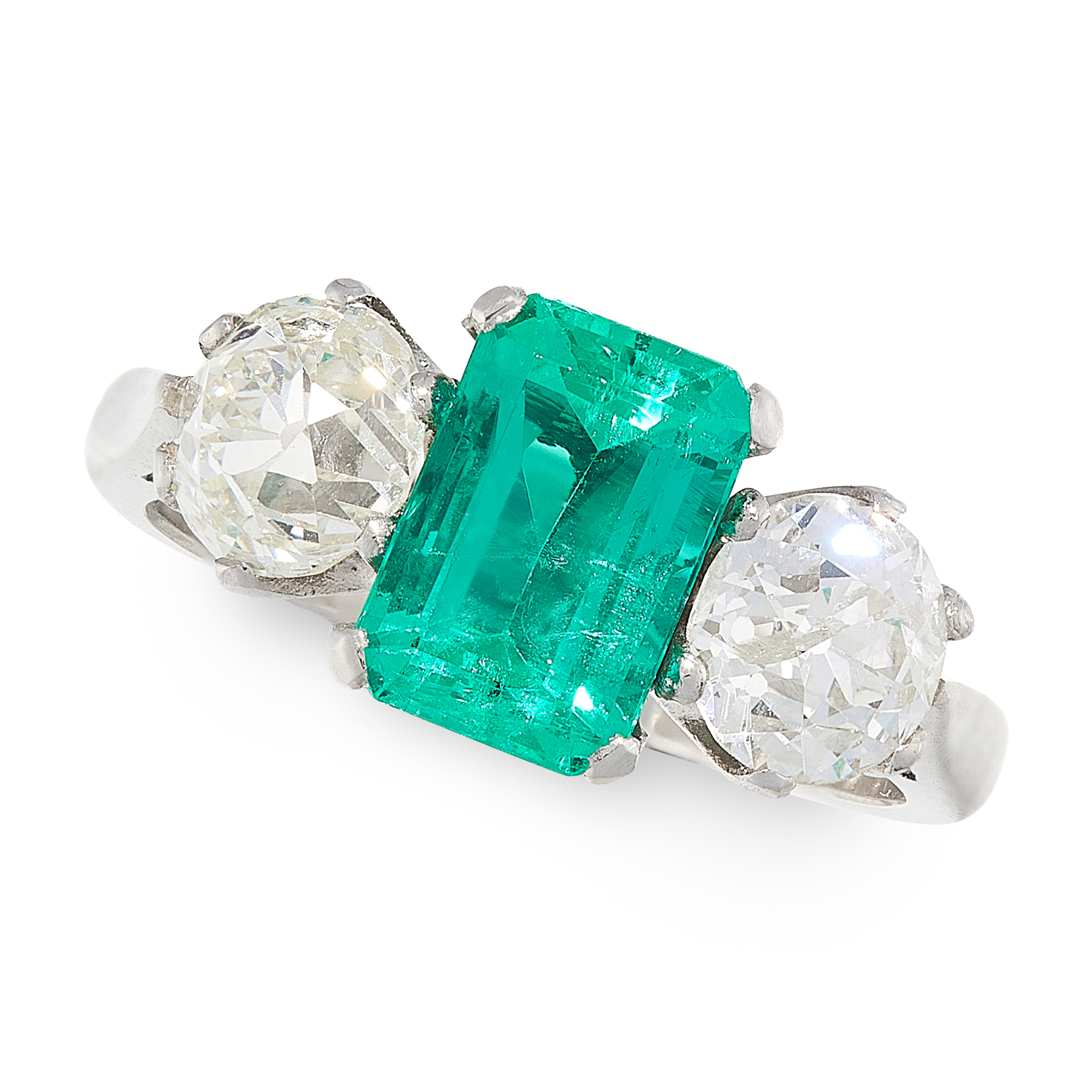 A COLOMBIAN EMERALD AND DIAMOND RING in platinum, set with an emerald cut emerald of 1.75 carats