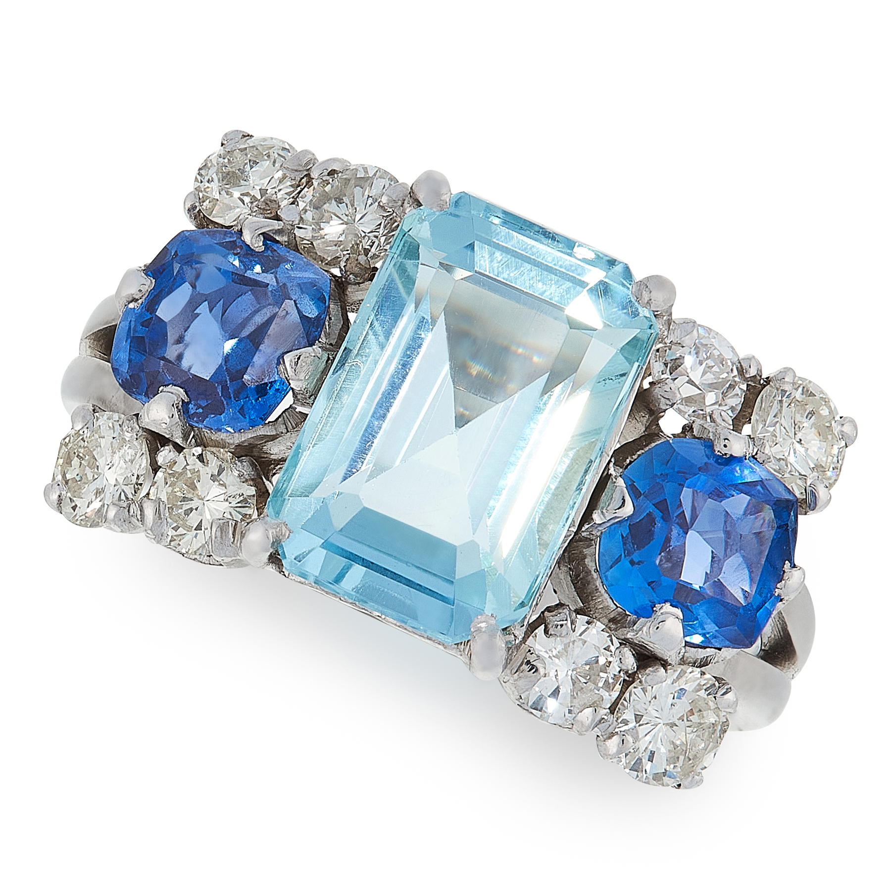 AN AQUAMARINE, SAPPHIRE AND DIAMOND RING set with an emerald cut aquamarine of 2.80 carats,