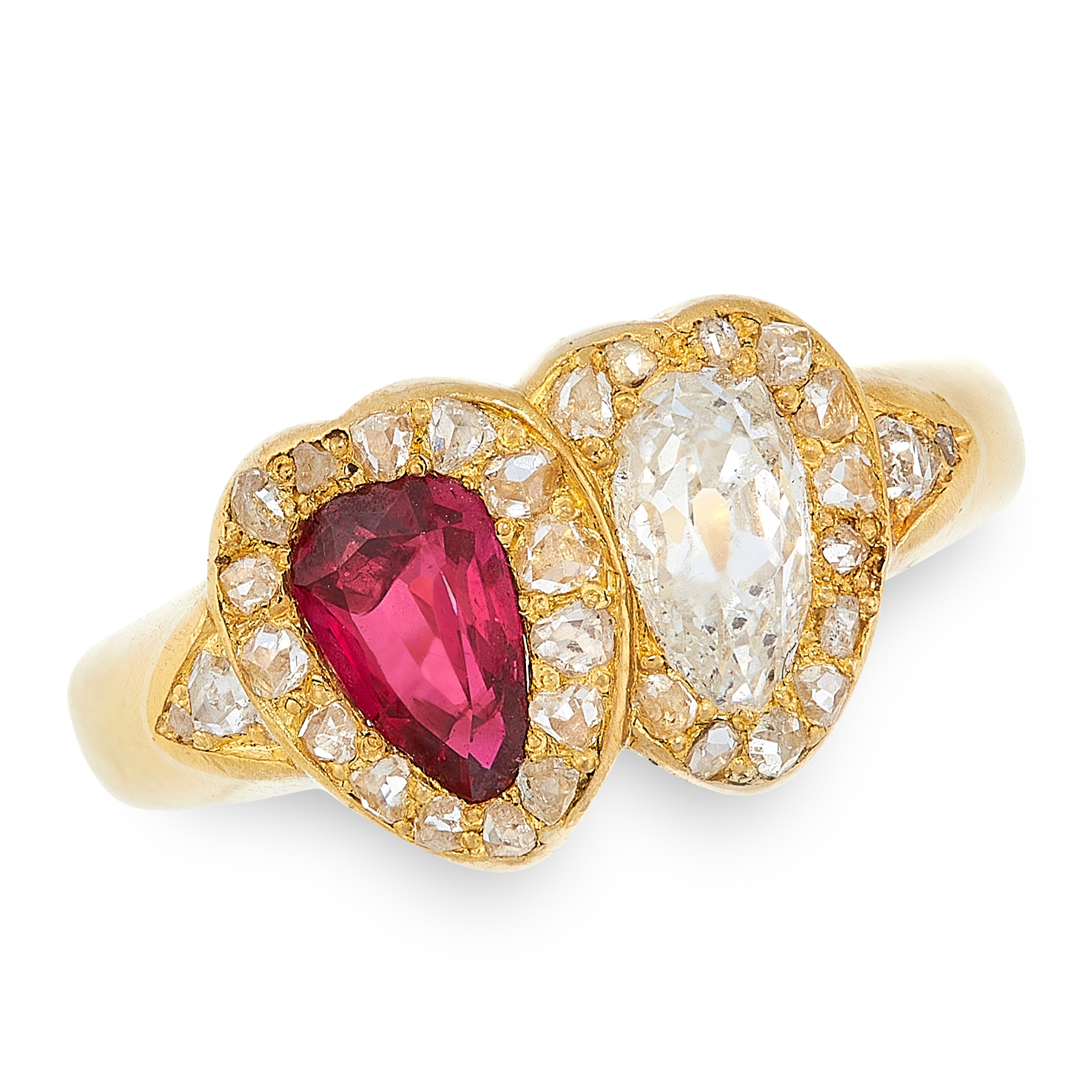 A RUBY AND DIAMOND SWEETHEART RING in high carat yellow gold, designed as two interlocking hearts,