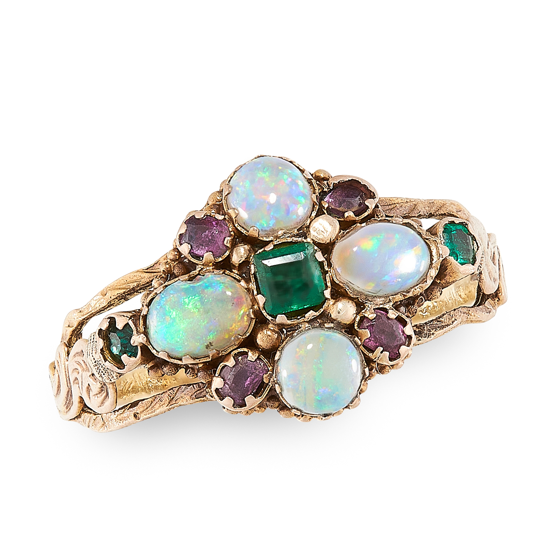 AN ANTIQUE EMERALD, OPAL AND GARNET DRESS RING, 19TH CENTURY in yellow gold, set with a trio of