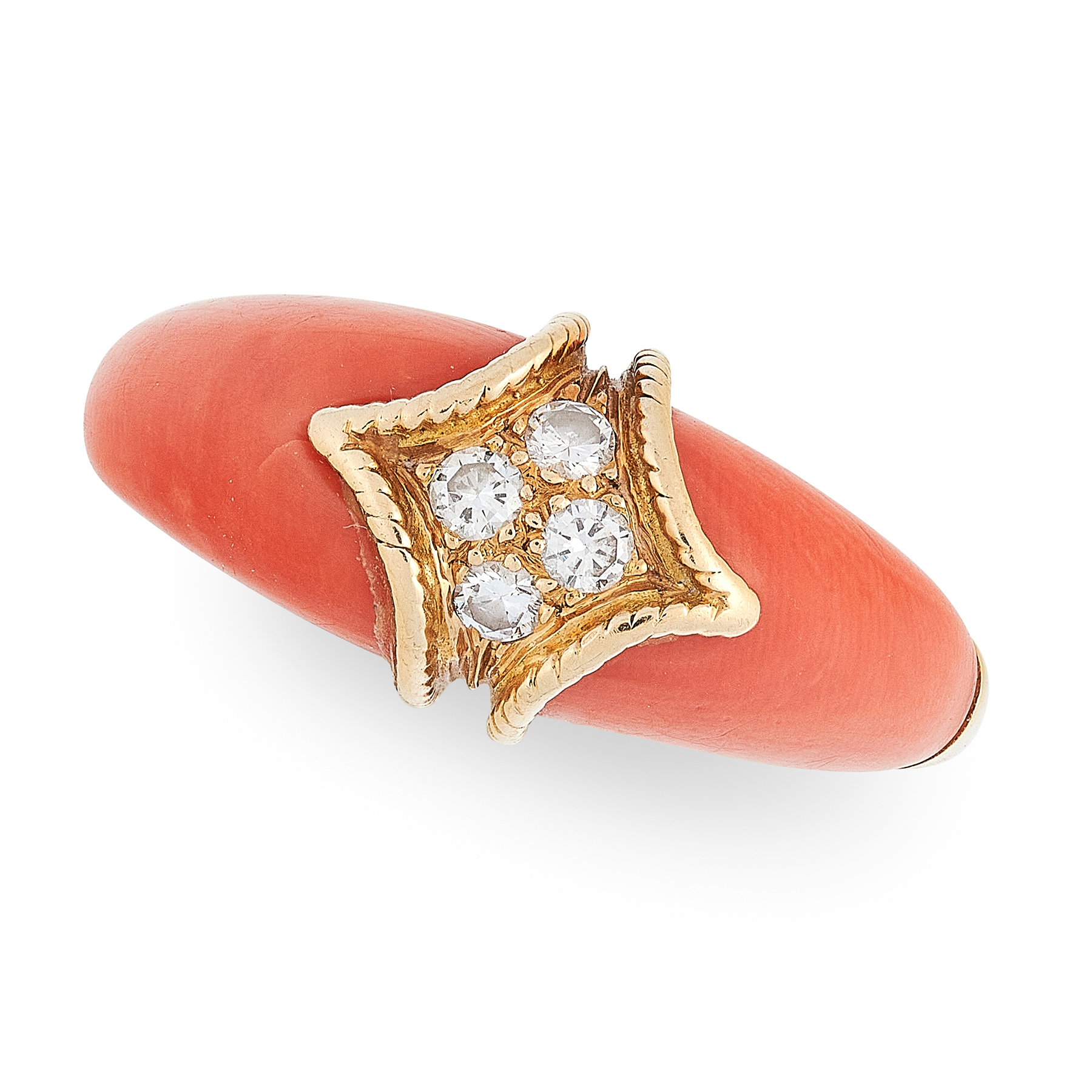 A VINTAGE CORAL AND DIAMOND RING in 18ct yellow gold, the band set with four round cut diamonds