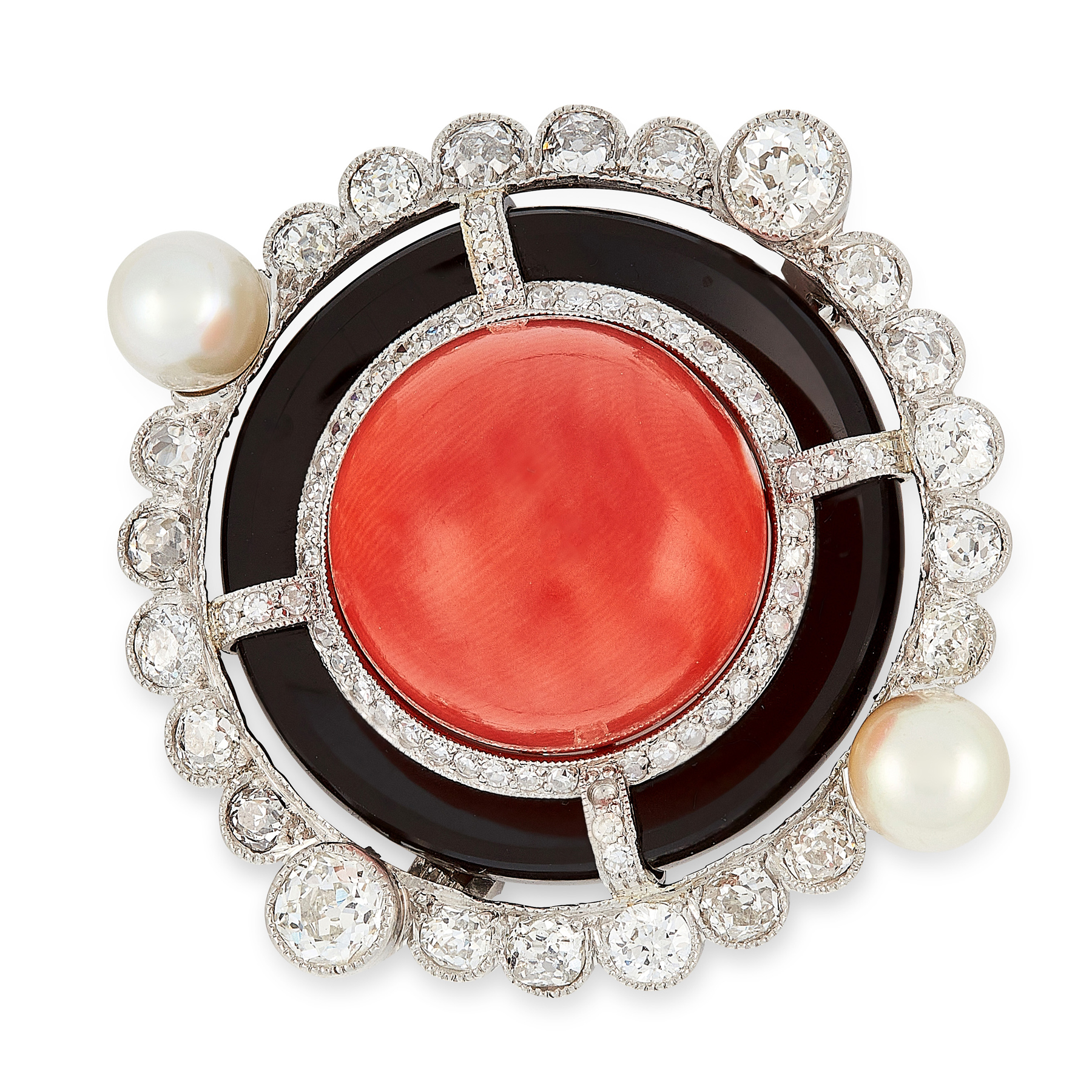 AN ART DECO CORAL, ONYX, PEARL AND DIAMOND BROOCH, EARLY 20TH CENTURY in platinum, set with a