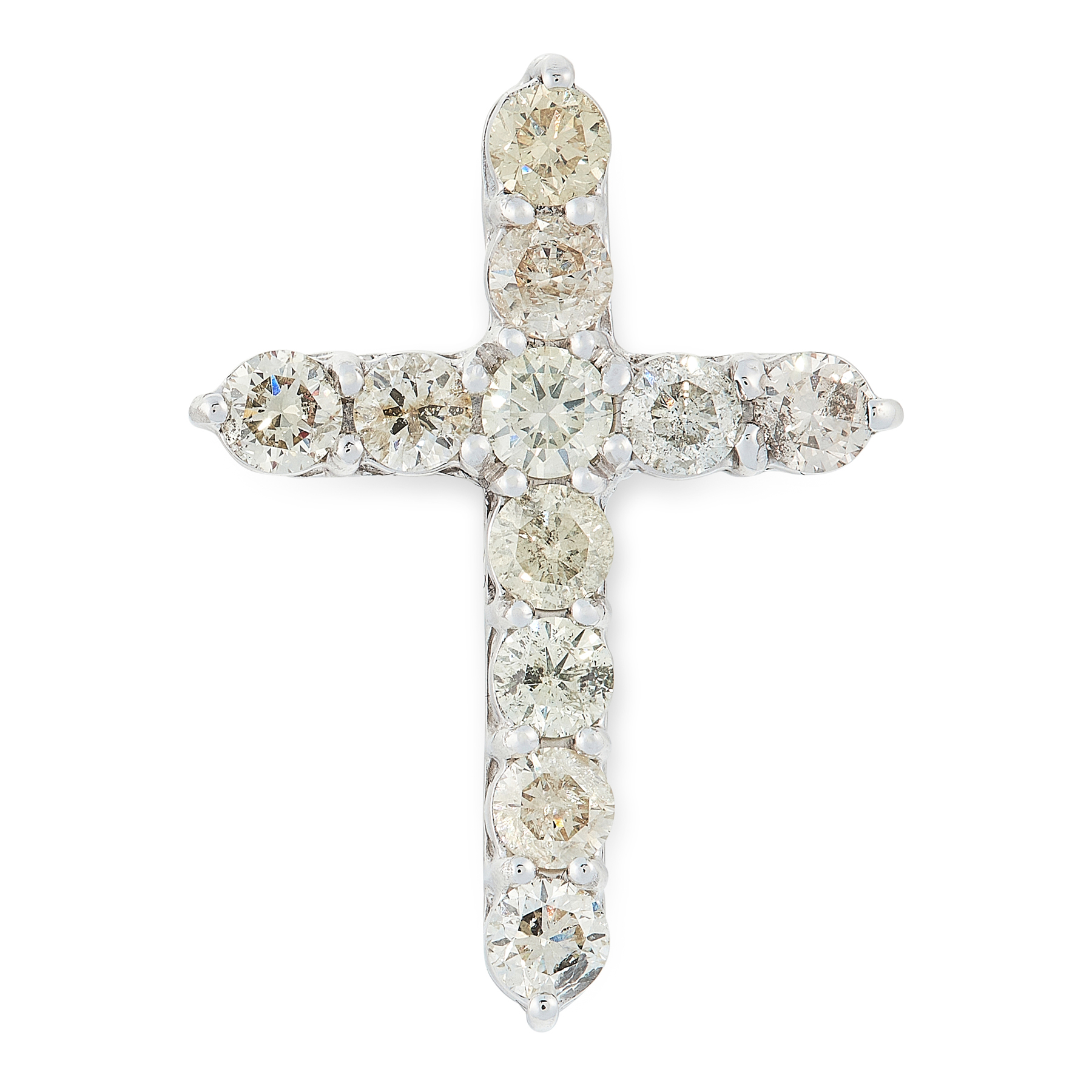 A DIAMOND CROSS PENDANT in 14ct white gold, designed as a cross, set with eleven round cut