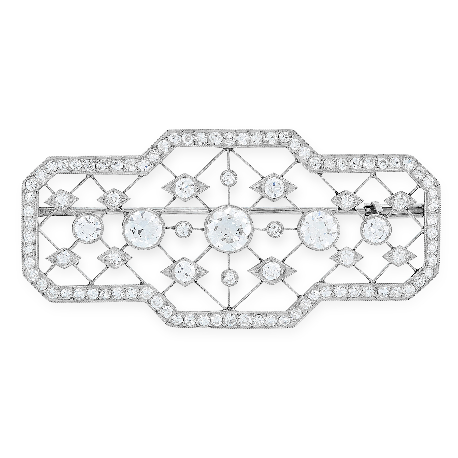 A DIAMOND BROOCH, EARLY 20TH CENTURY the body formed of a crosshatch lattice of wires accented by