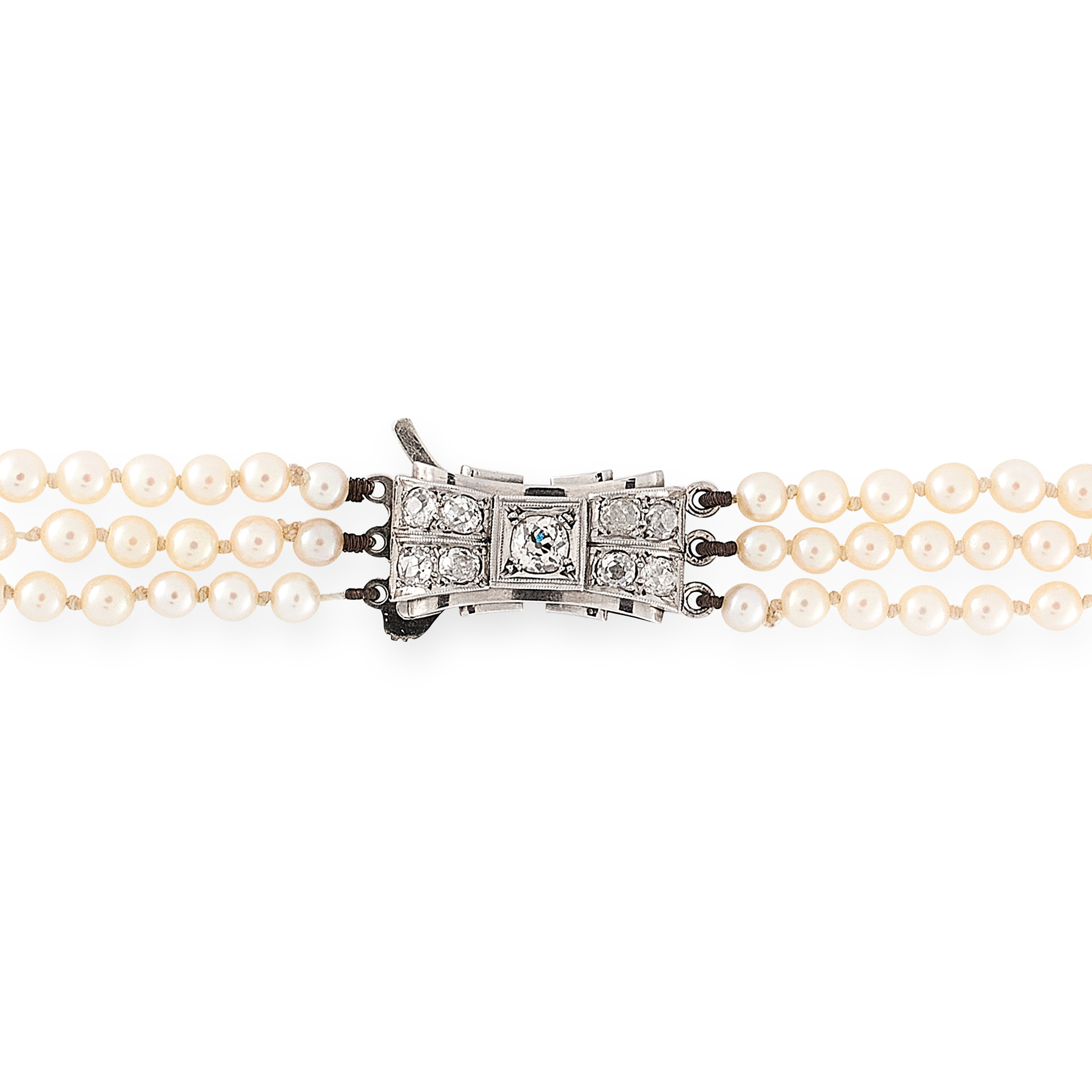 A PEARL AND DIAMOND THREE ROW NECKLACE comprising three rows of one hundred and eighty six graduated - Image 2 of 2