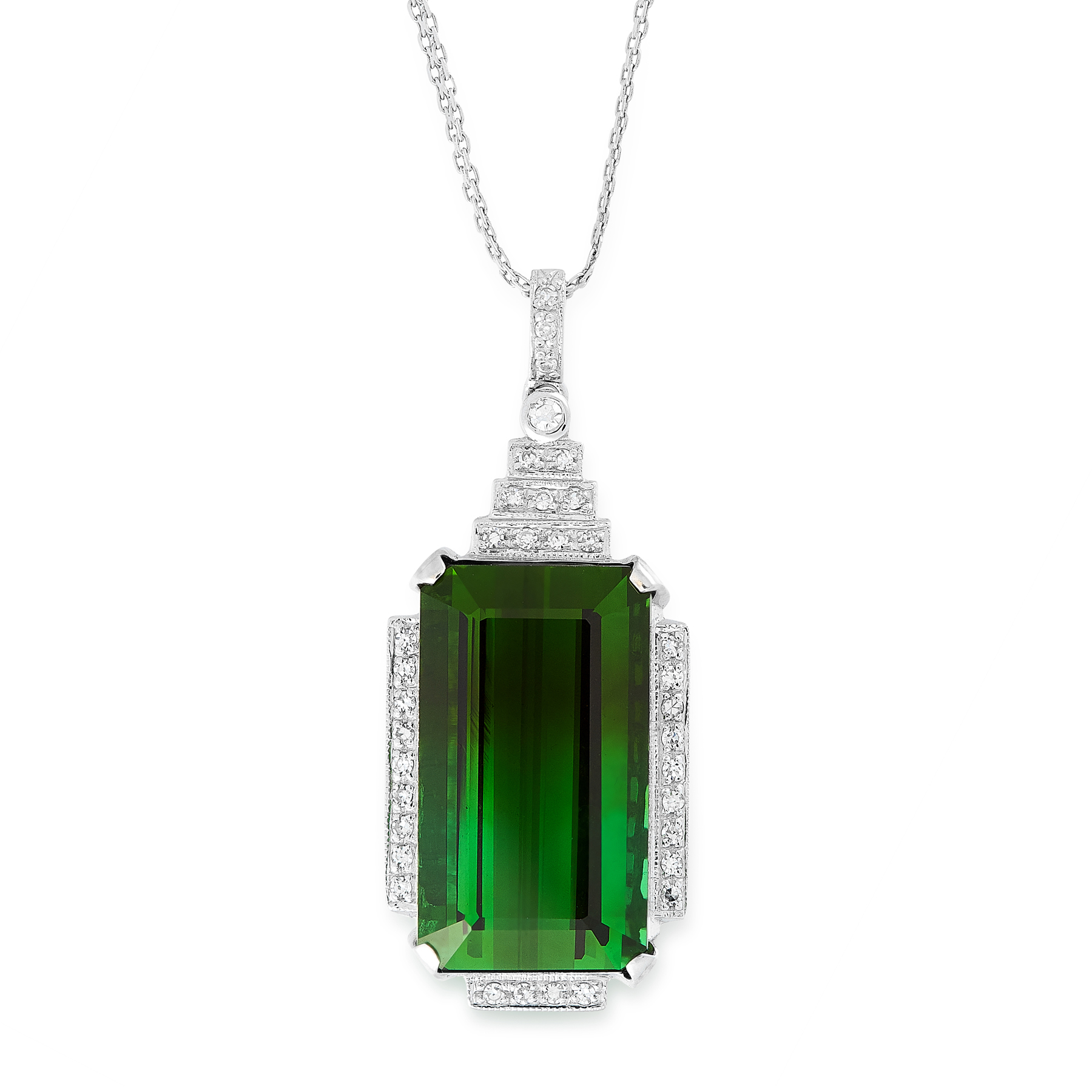 A GREEN TOURMALINE PENDANT AND CHAIN in 18ct white gold, in Art Deco style, set with an emerald