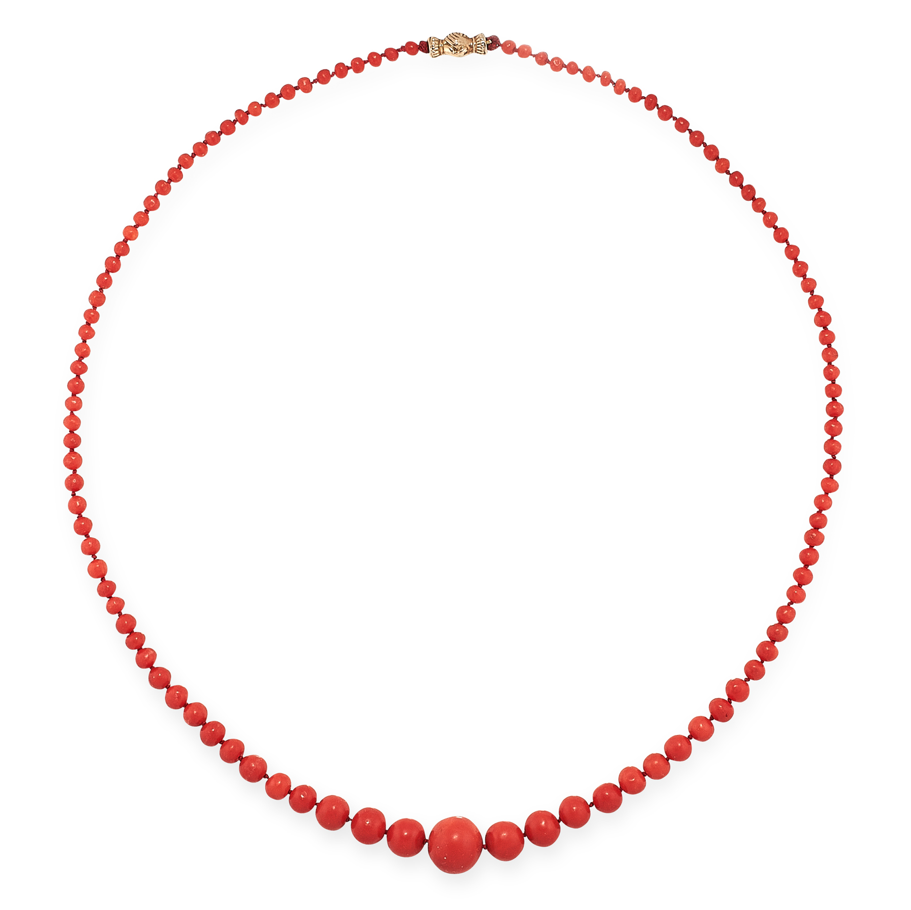 AN ANTIQUE CORAL BEAD NECKLACE in yellow gold, comprising a single row of one hundred and nine