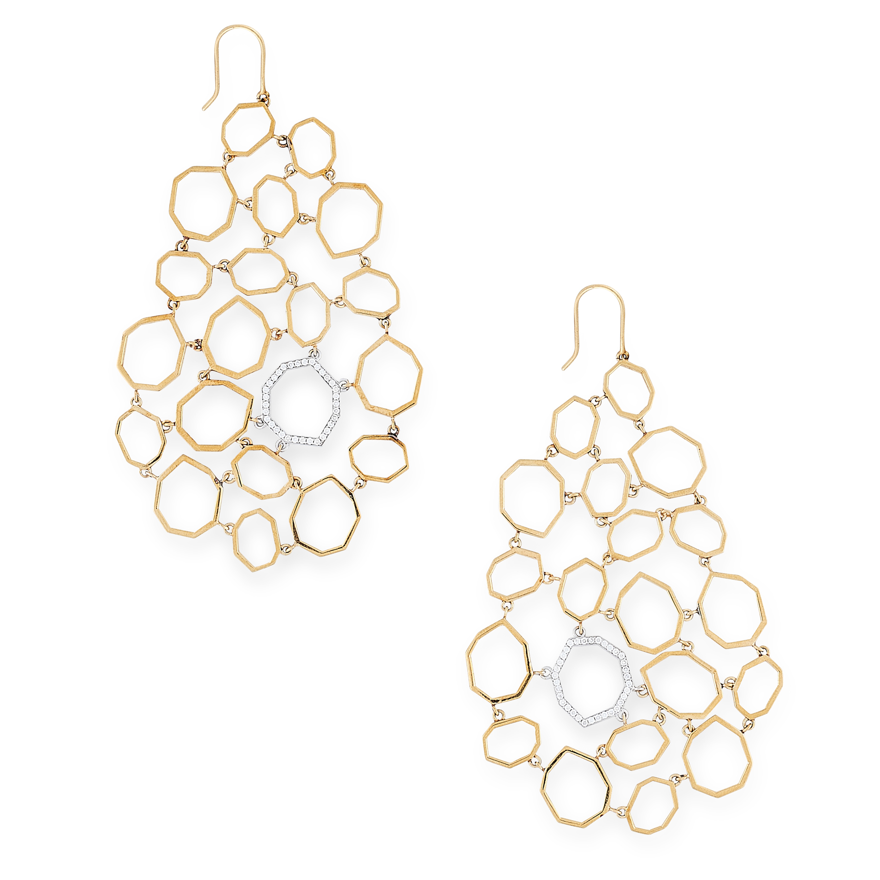 A PAIR OF DIAMOND PENDENT EARRINGS, RON HAMI in 18ct yellow and white gold, each of abstract design,