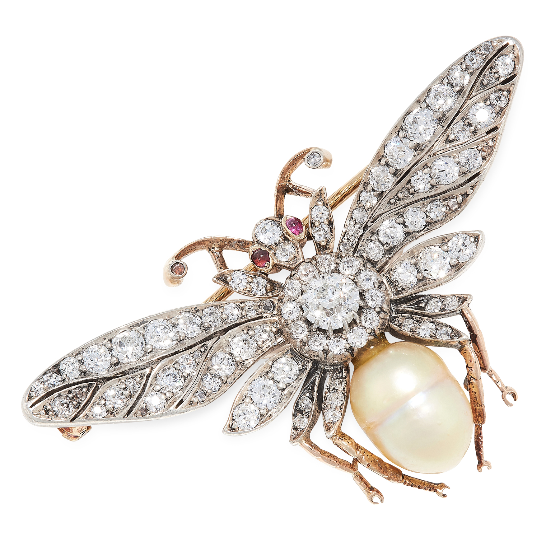 AN ANTIQUE NATURAL PEARL, DIAMOND AND RUBY BEE BROOCH, EARLY 20TH CENTURY designed as a bee, the