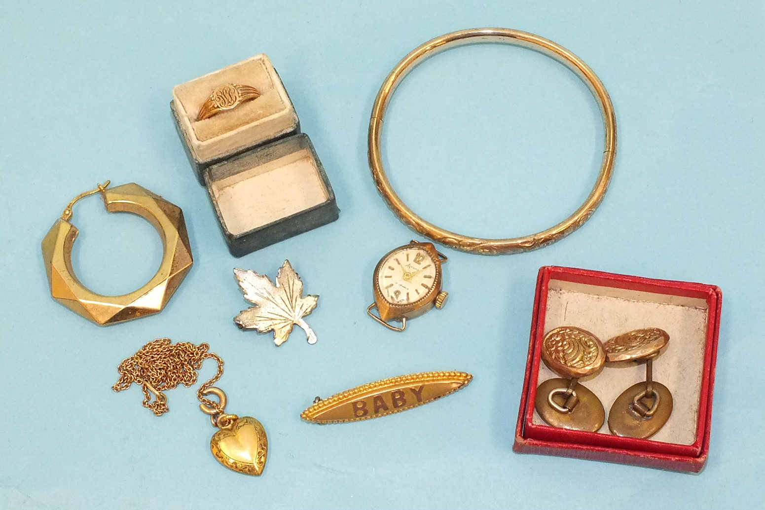 """Lot 130 - A small 9ct gold brooch """"BABY"""", a '10K' gold child's ring, size B½ and other items, weighable gold"""