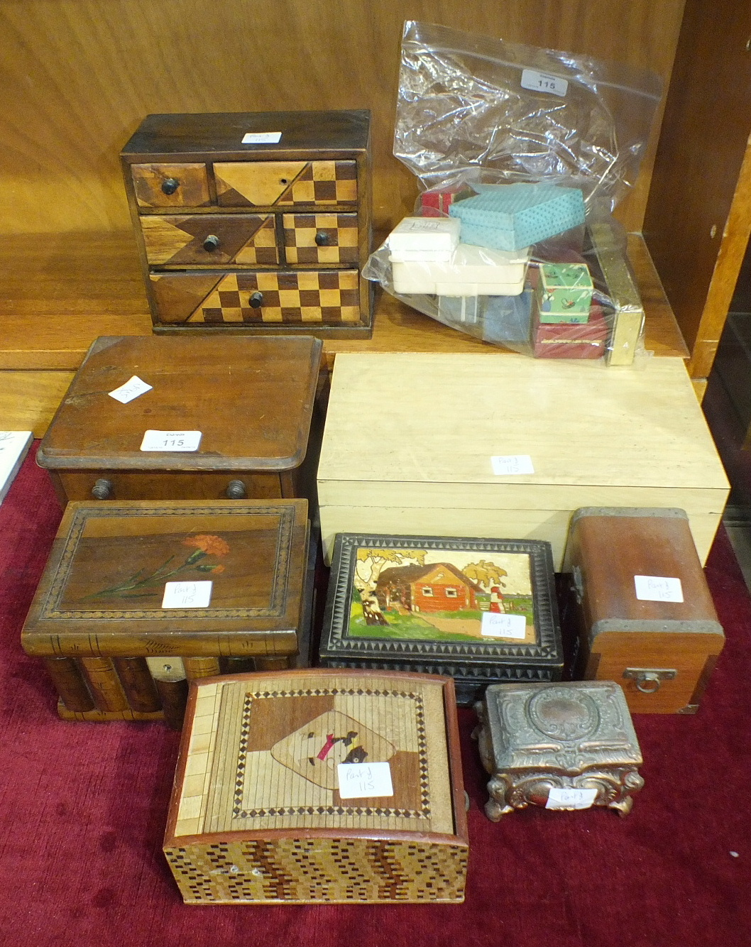 Lot 115 - A Sorrento Ware puzzle box, a tambour-topped box, other wooden boxes and a quantity of jewellery