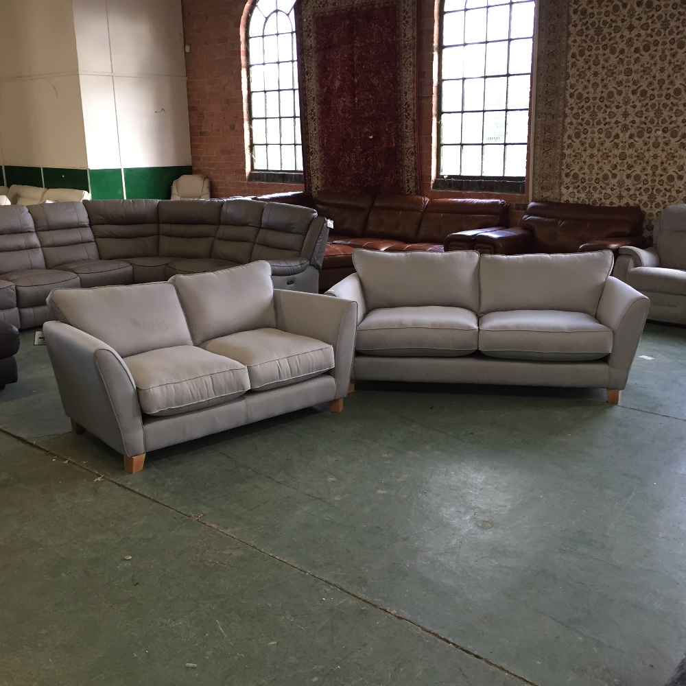 Duck Egg Blue Leather Sofa: DUCK EGG BLUE 3 SEATER SOFA AND 2 SEATER SOFA