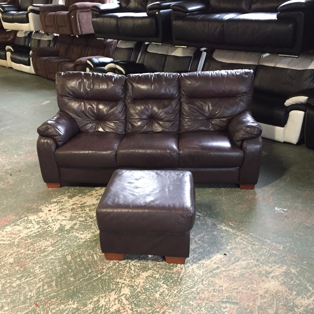 Brown Leather 3 Seater Sofa And Footstool Leather Coming Off