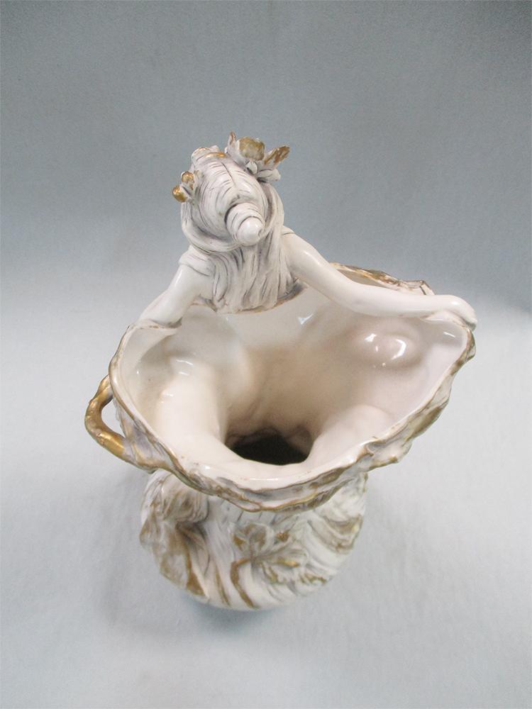 Lot 30 - Royal Dux, an early 20th century Bohemia Art Nouveau porcelain two-handled vase, modelled as a nymph