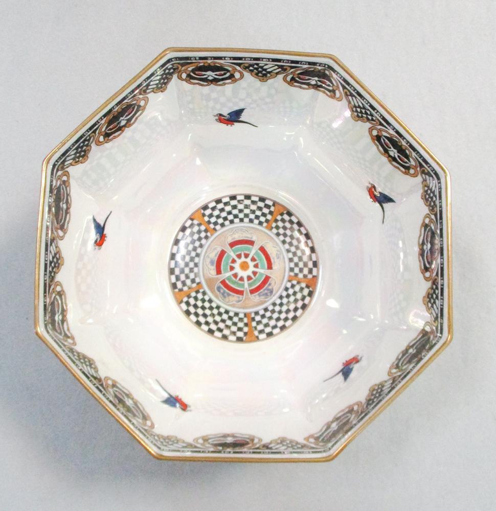 Lot 53 - Daisy Makeig-Jones for Wedgwood, a 'Coral and Bronze Moorish' Fairyland Lustre bowl, of octagonal