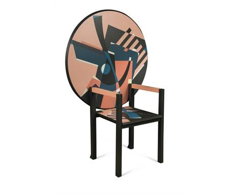 Alessandro Mendini (Italian, born 1931) for Zanotta, Milan, a rare 'Zabro' metamorphic chair-table, 1984, the hinged circular