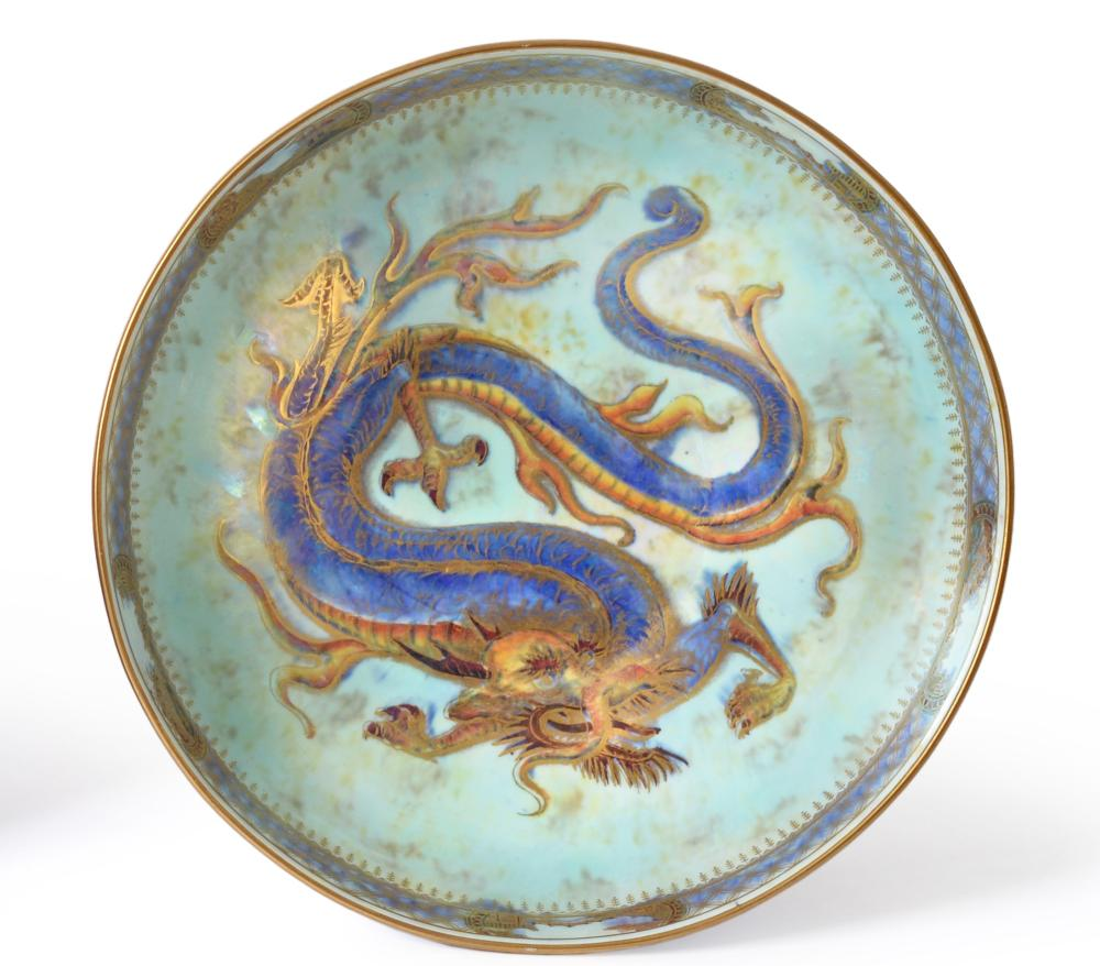Lot 52 - Daisy Makeig-Jones (1881-1945) for Wedgwood, a Dragon lustre footed bowl, blue lustre with