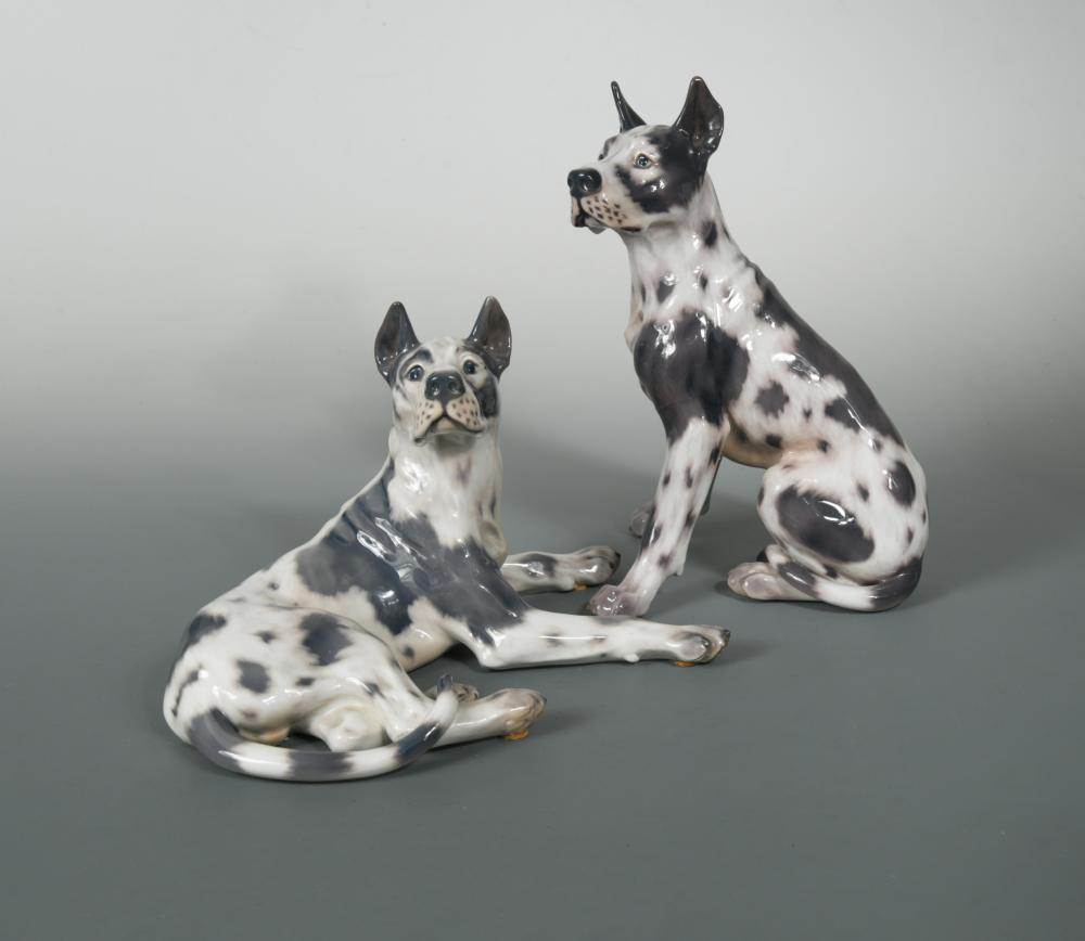Lot 46 - Jens Peter Dahl Jensen for Copenhagen, two porcelain models of Great Danes, each with green