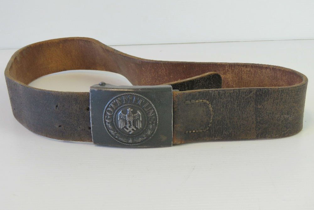 Lot 21 - A WWII German Infantry belt with original German Gott Mit Uns (God With Us) buckle.