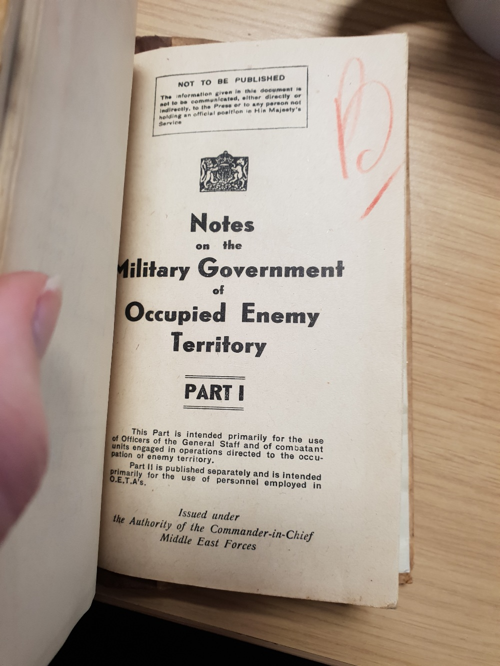 Lot 23 - Books; 'Middle Eastern Training Pamphlet No19 Part II April 1943' 'Ships of the Royal Navies' 1934,