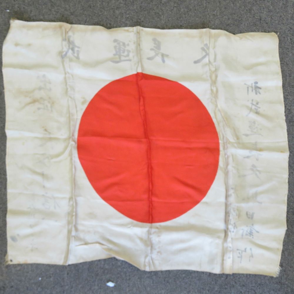 Lot 35 - A WWII Japanese soldiers silk battle flag with shrine blessing marks.