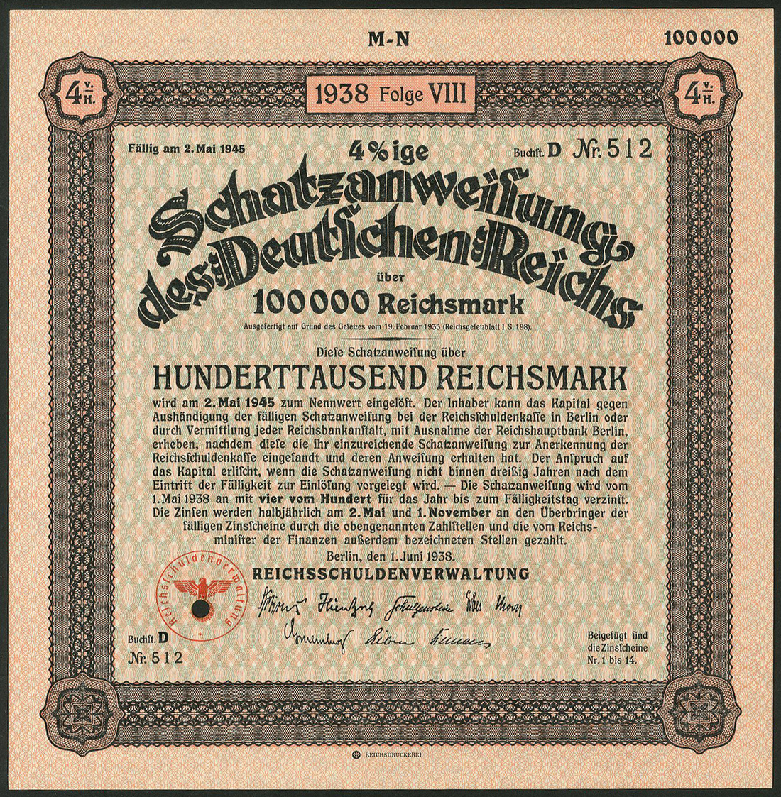 Lot 251 - Schatzanweisung des Deutschen Reichs 1938 / Nazi-Treasury Bill 1938, a group of 199 x 4½%
