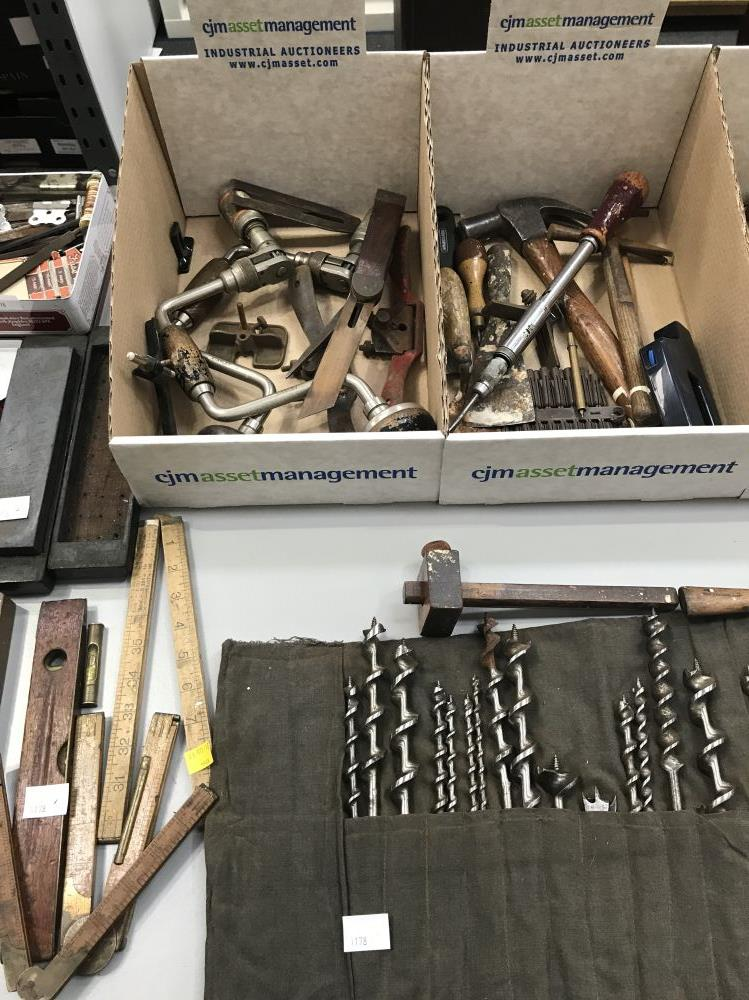 tools include saws drill bits measuring lot 1178 woodworking tools ...