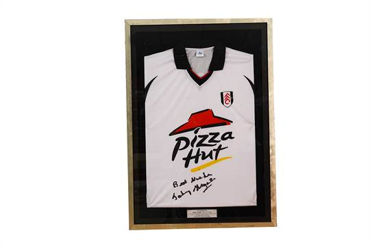 Autographs, A framed and glazed replica Fulham FC football shirt ...