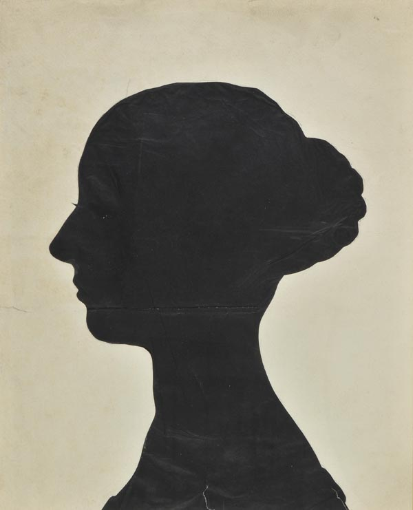 Silhouettes. A collection of five large silhouette portraits, early-mid...