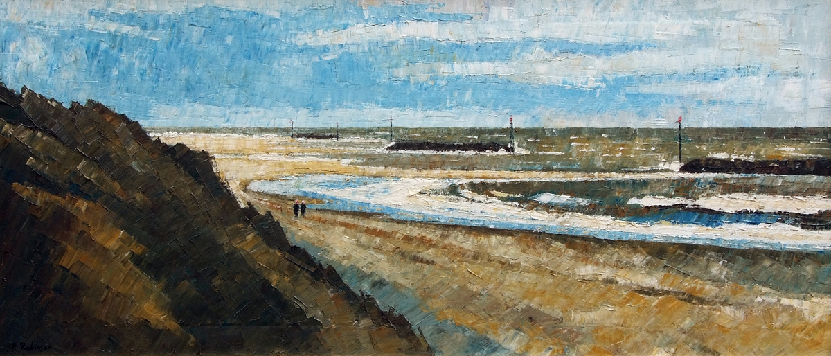 """Lot 476 - PAUL ROBINSON, SIGNED LOWER LEFT, OIL ON CANVAS, Sea Palling View, 16"""" x 35"""""""