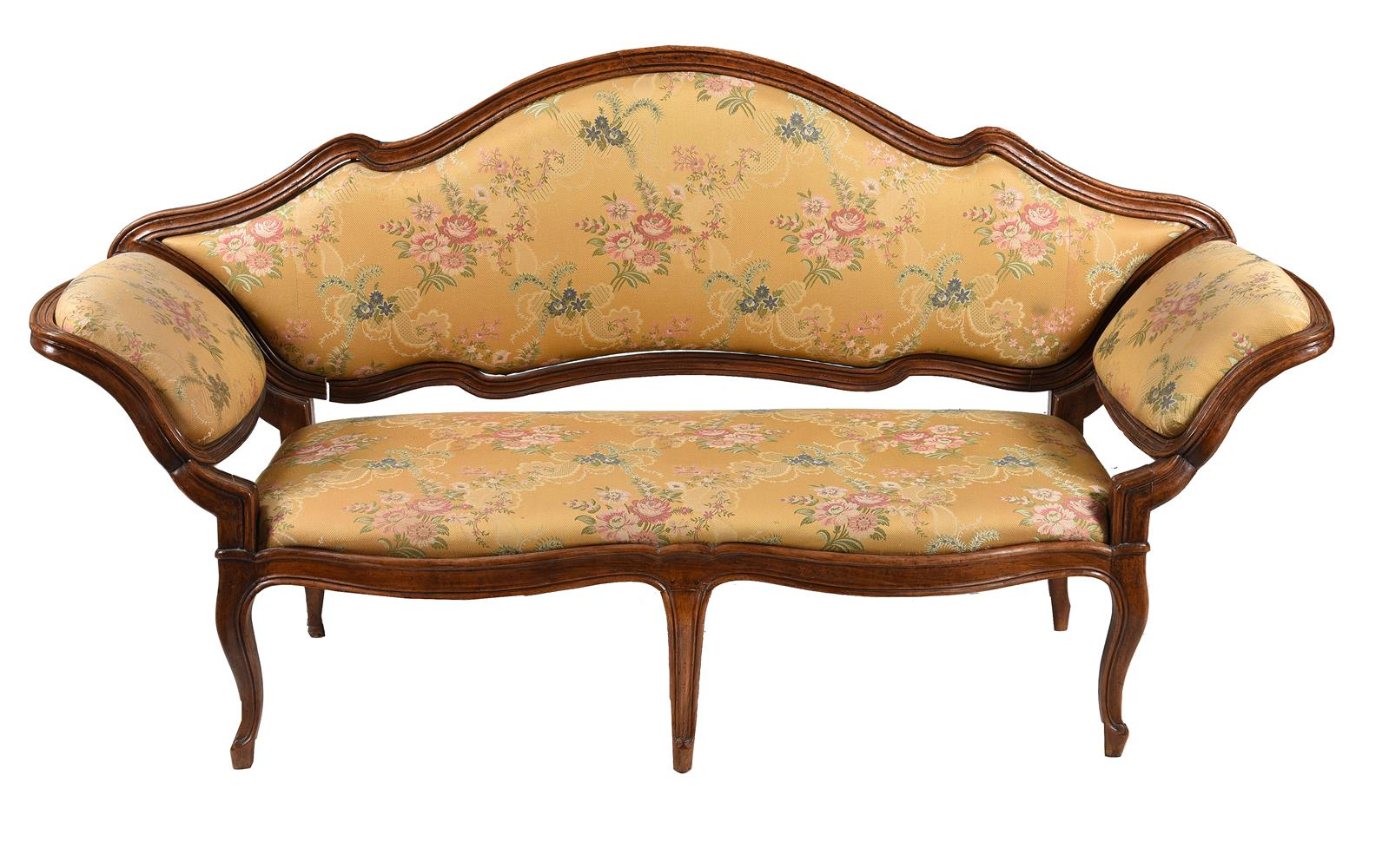 A Continental walnut and upholstered sofa