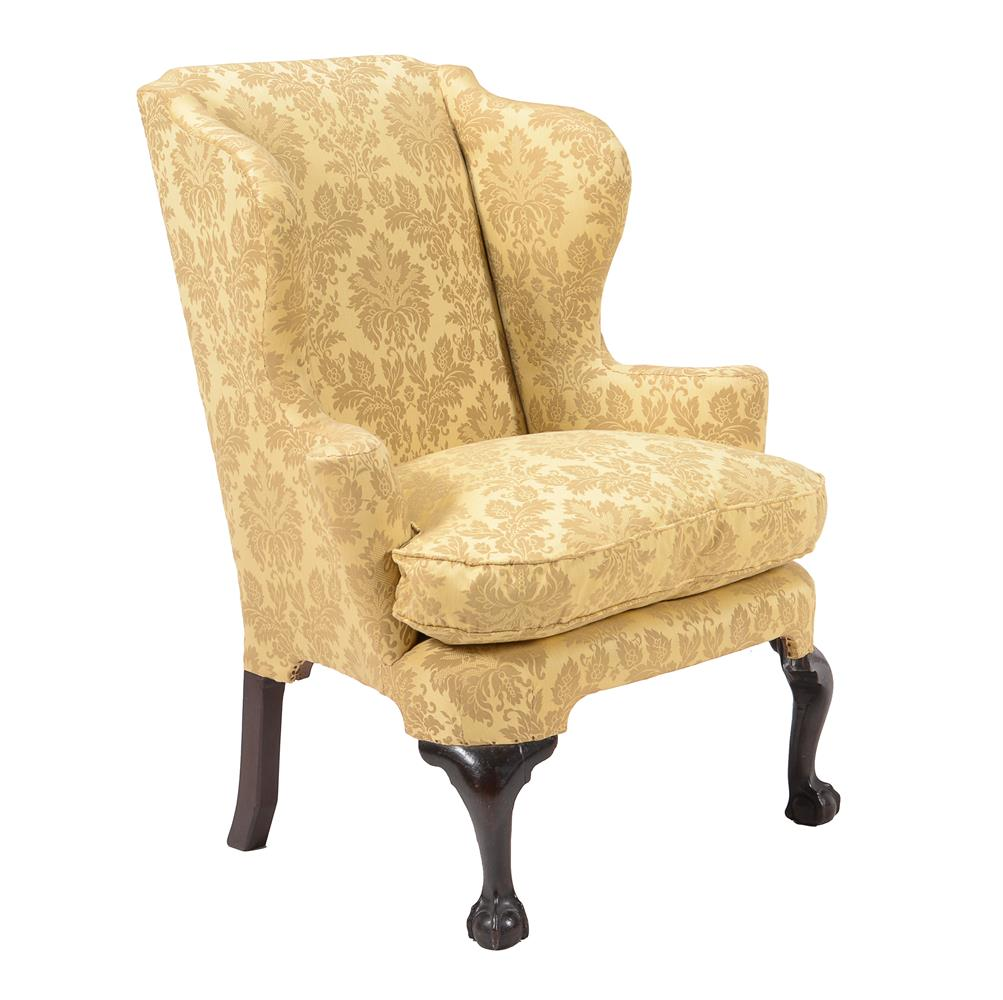 A mahogany and damask style upholstered armchair