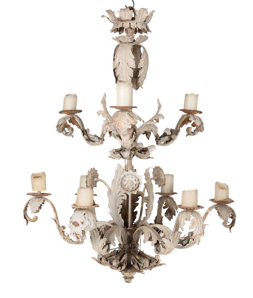 An Italian white painted and pressed metal chandelier