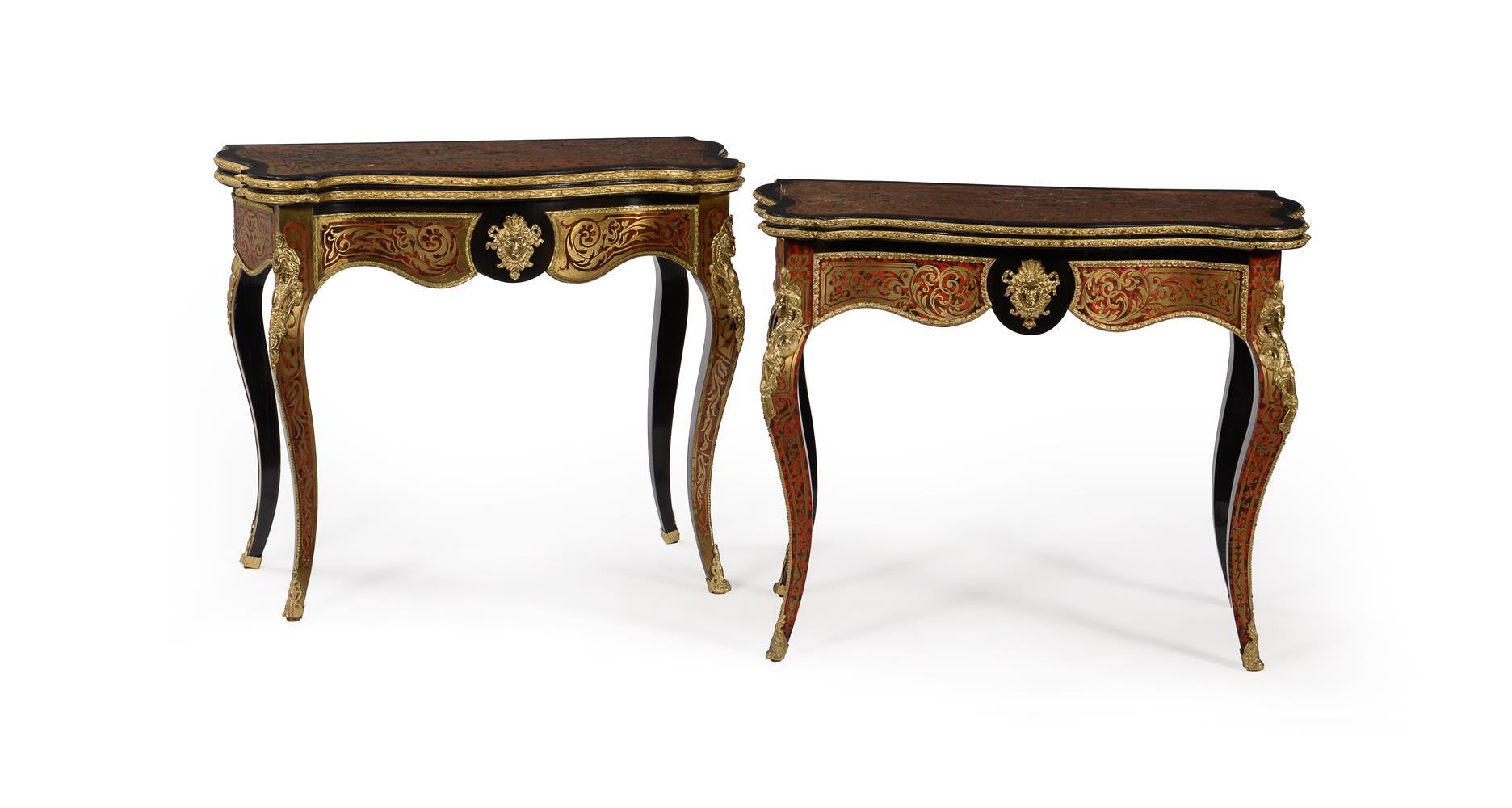 Two similar Napoleon III 'Boule' card tables