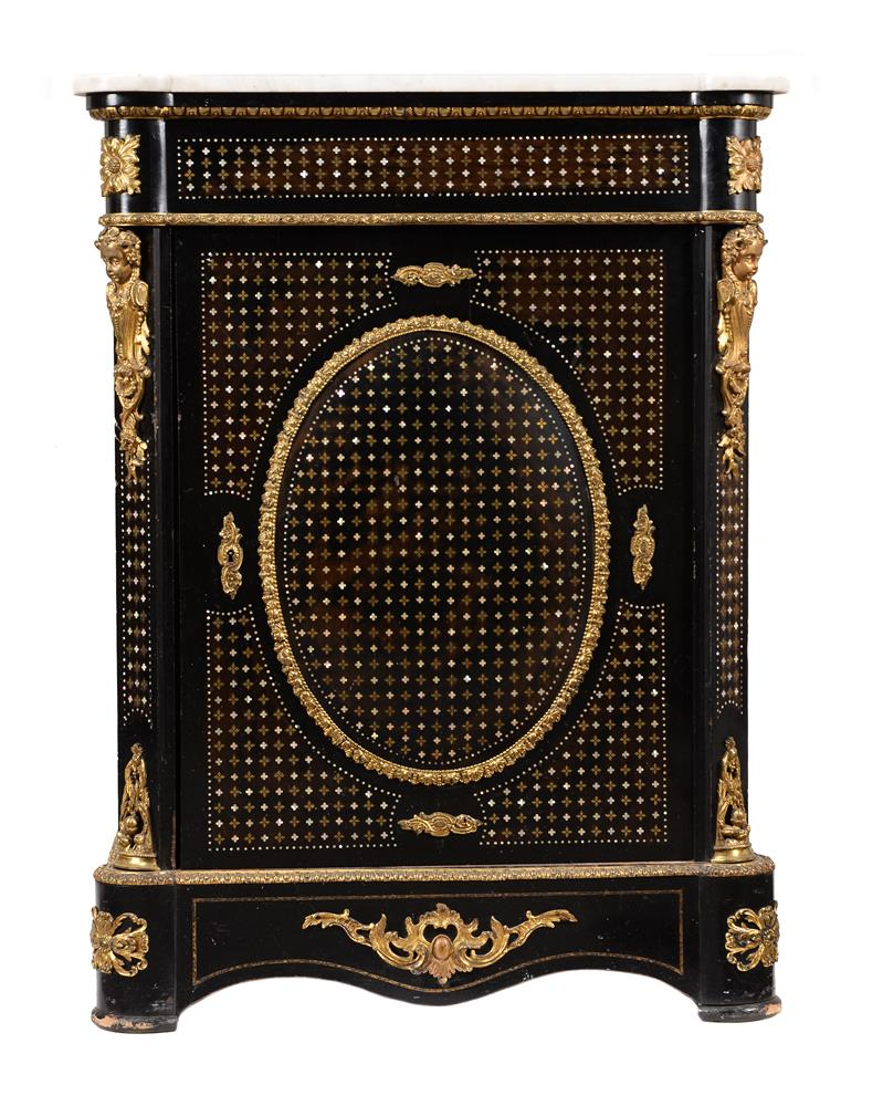 A Napoleon III ebonised, gilt metal mounted, mother of pearl and brass inlaid side cabinet