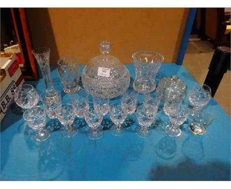 20 items of lead crystal Glassware inc 6 Whisky Tumblers and 8 liqueur glasses
