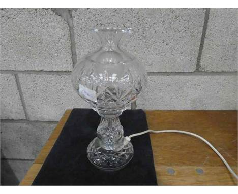 A Lead Crystal Glass two piece table lamp, 30cm high