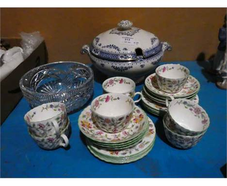 A Minton Haddon Hall 24pc Tea Set for eight, a blue and white Tureen and a glass Fruit Bowl
