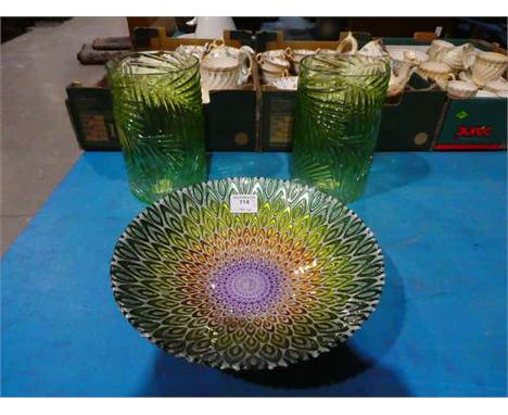 Peacock design Bowl and a pair of Fern relief green glass Vases